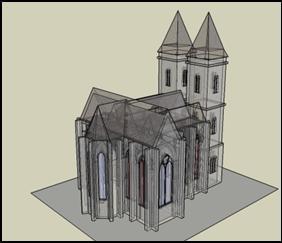 """Skizze eines Kirchenmodels, welche einige Auslegungsmaße einer mittelalterlichen Kirche enthält. Sie enthält ein Querschiff und zwei Seitenschiffe von gleicher Höhe wie das Mittelschiff, so dass eine Kirche vom Typ """"Halle"""" entsteht"""