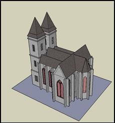 Skizze eines Kirchenmodels