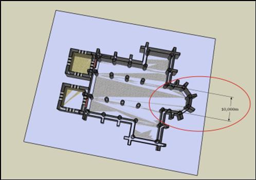"""Chor mit fünf Seiten eines Achtecks, rechts im Bild, mit Schlüsselmaß (hier 10m) für die """"lichte Weite"""" also der Chorbreite"""