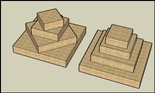Bild : Diagonal-Verschachtelungsprinzip erzeugt Quadrate die sich um den Faktor Wurzel2 vom Vorgänger / Nachfolger unterscheiden